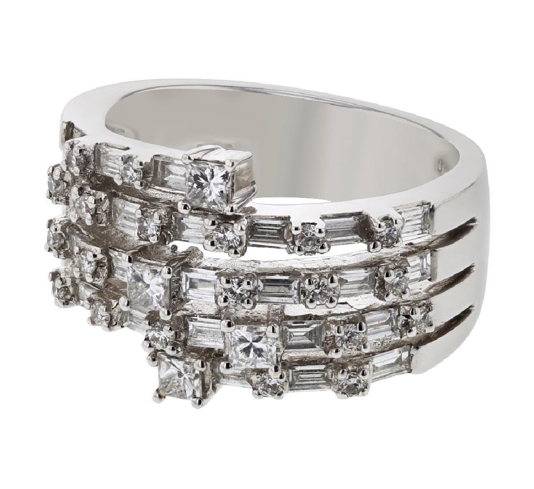 18K WhiteGold 1.4CTW Baguette Fashion Ring