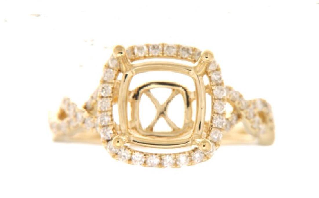 14K Yellow Gold 0.5CTW Diamond Semi Mount Ring