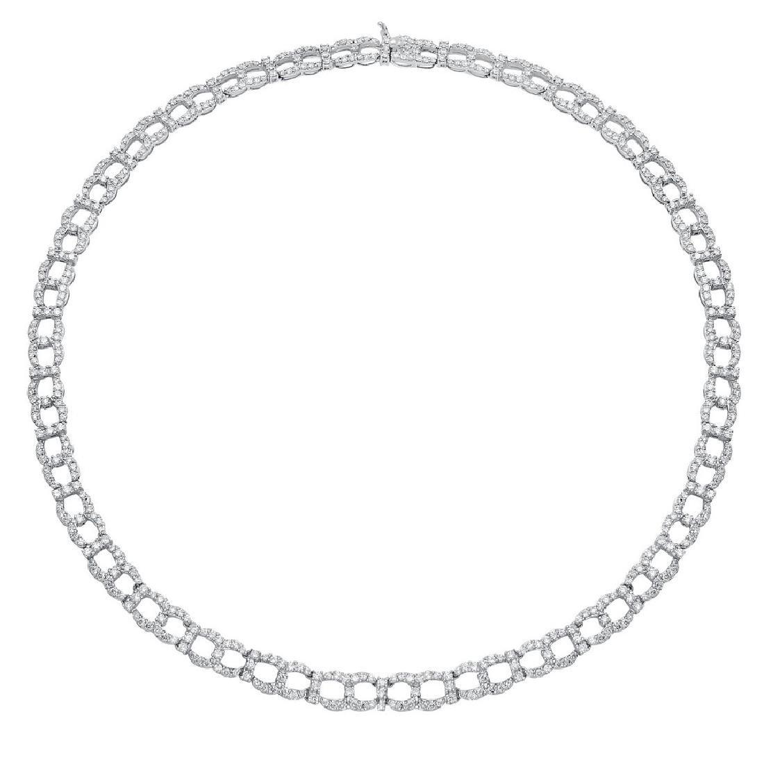 18K White Gold 10.46 CTW Diamond Necklace