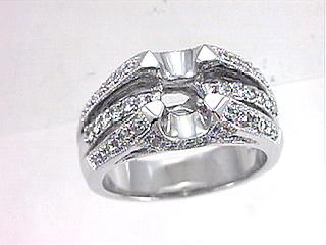 18K White Gold 0.51CTW Diamond Semi Mount Ring