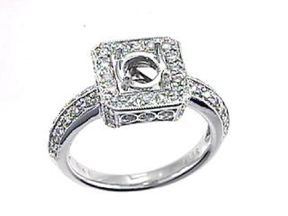 18K White Gold 0.65CTW Diamond Semi Mount Ring