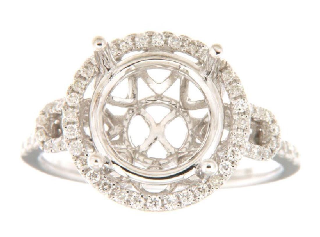 14K White Gold 0.36CTW Diamond Semi Mount Ring