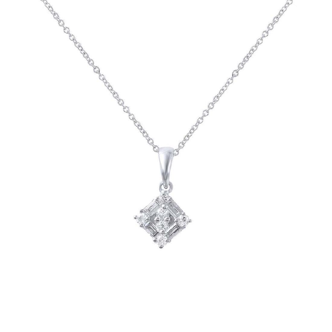 Genuine 0.29 TCW 18K White Gold Ladies Necklace