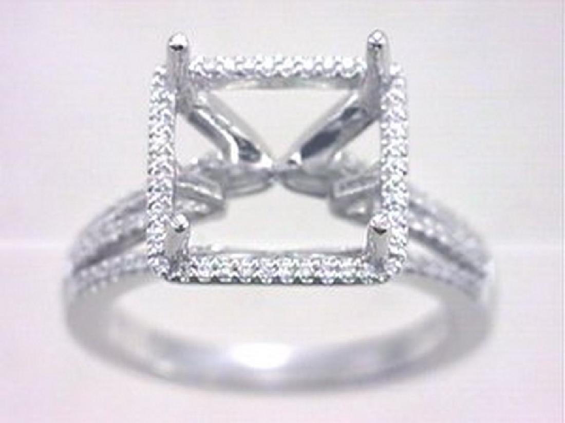 18K White Gold 0.25CTW Diamond Semi Mount Ring