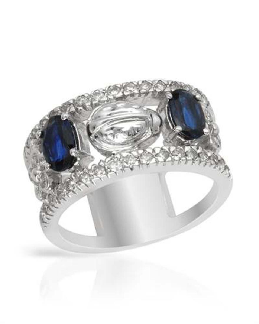 Genuine 1.76 TCW 14K White Gold Ladies Ring