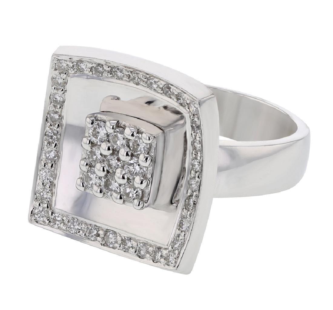 18K White Gold 0.69CTW Diamond Cocktail Ring