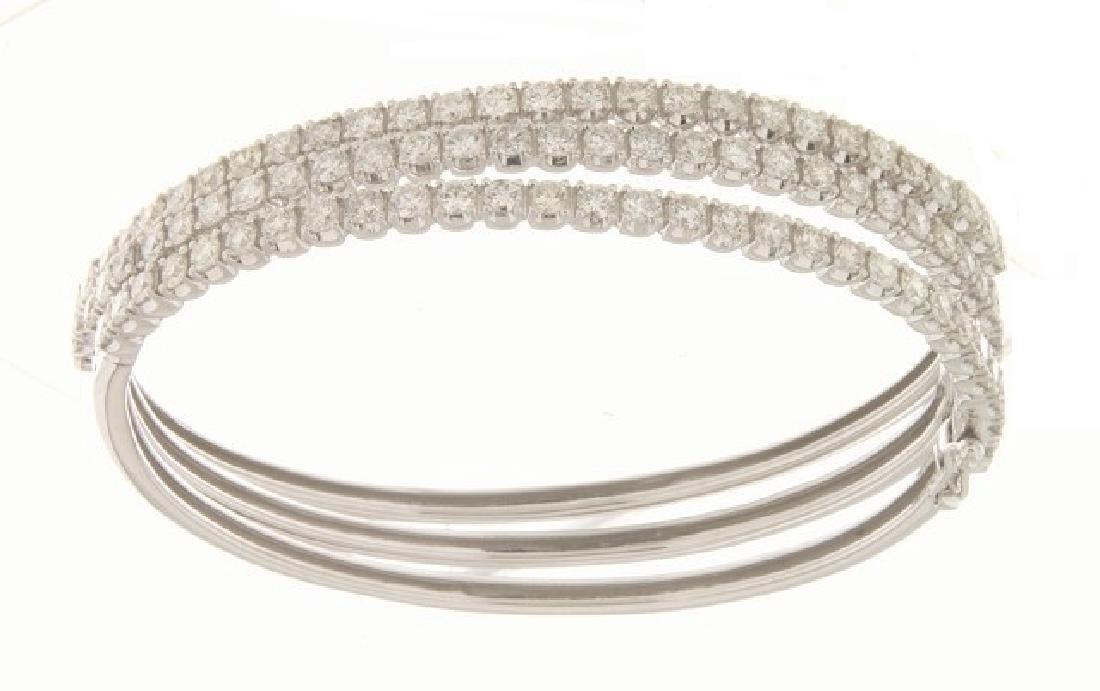 14K White Gold 2.11CTW Diamond Bangle
