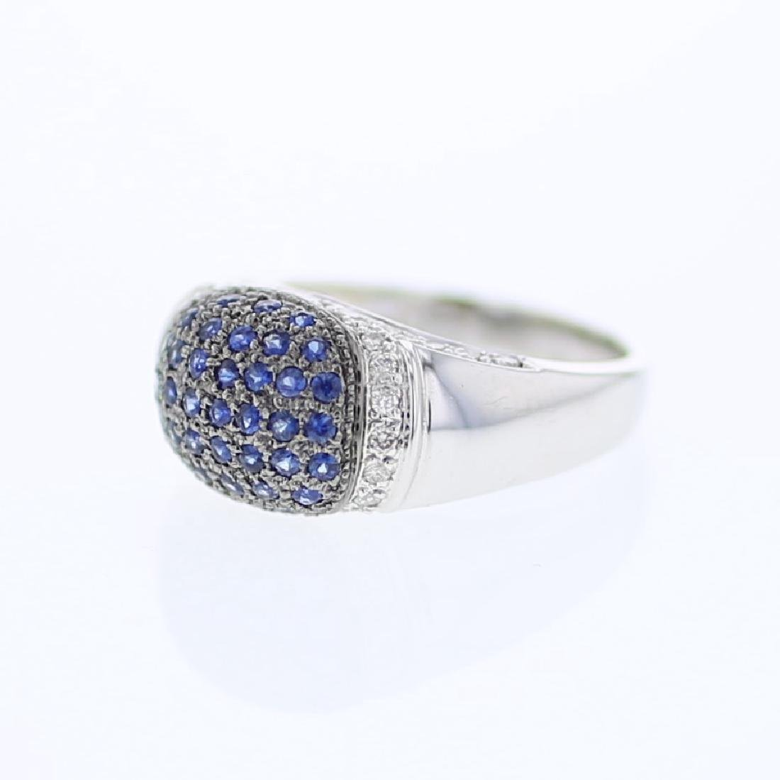 Dome-shaped Pave-set w/ Blue Sapphire Diamond Ring in