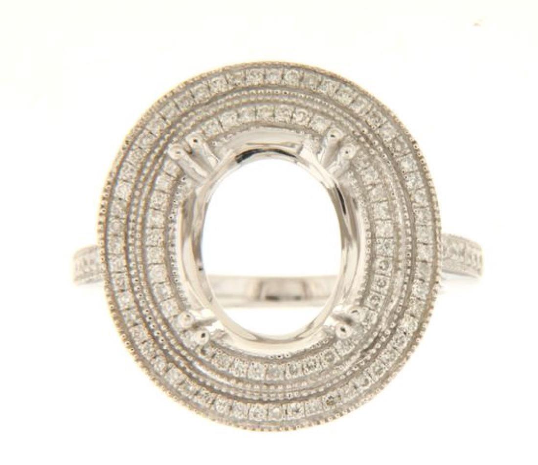 14K White Gold 0.4CTW Diamond Semi Mount Ring