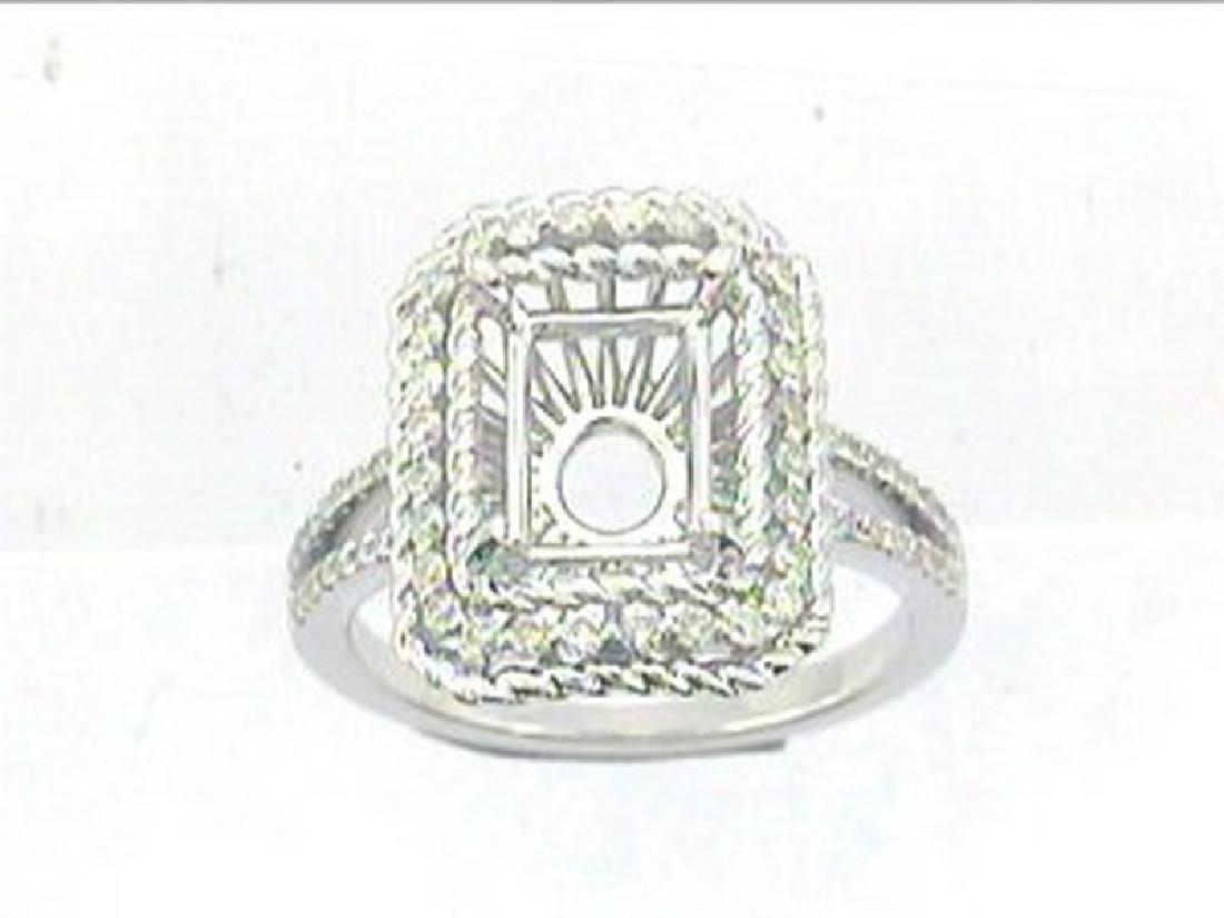 14K White Gold 0.41CTW Diamond Semi Mount Ring