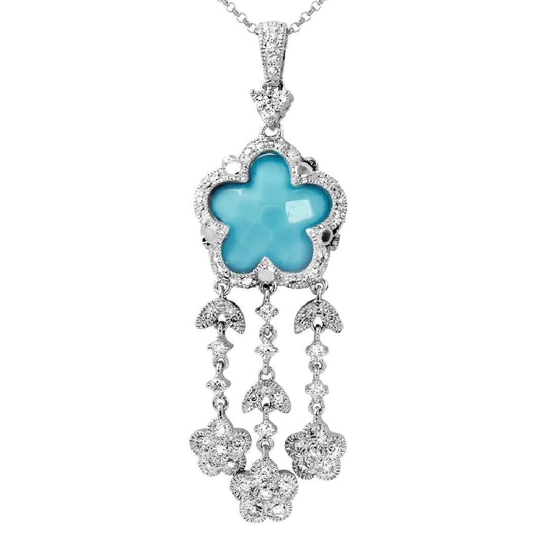 Genuine 5.34 TCW 14K White Gold Ladies Necklace