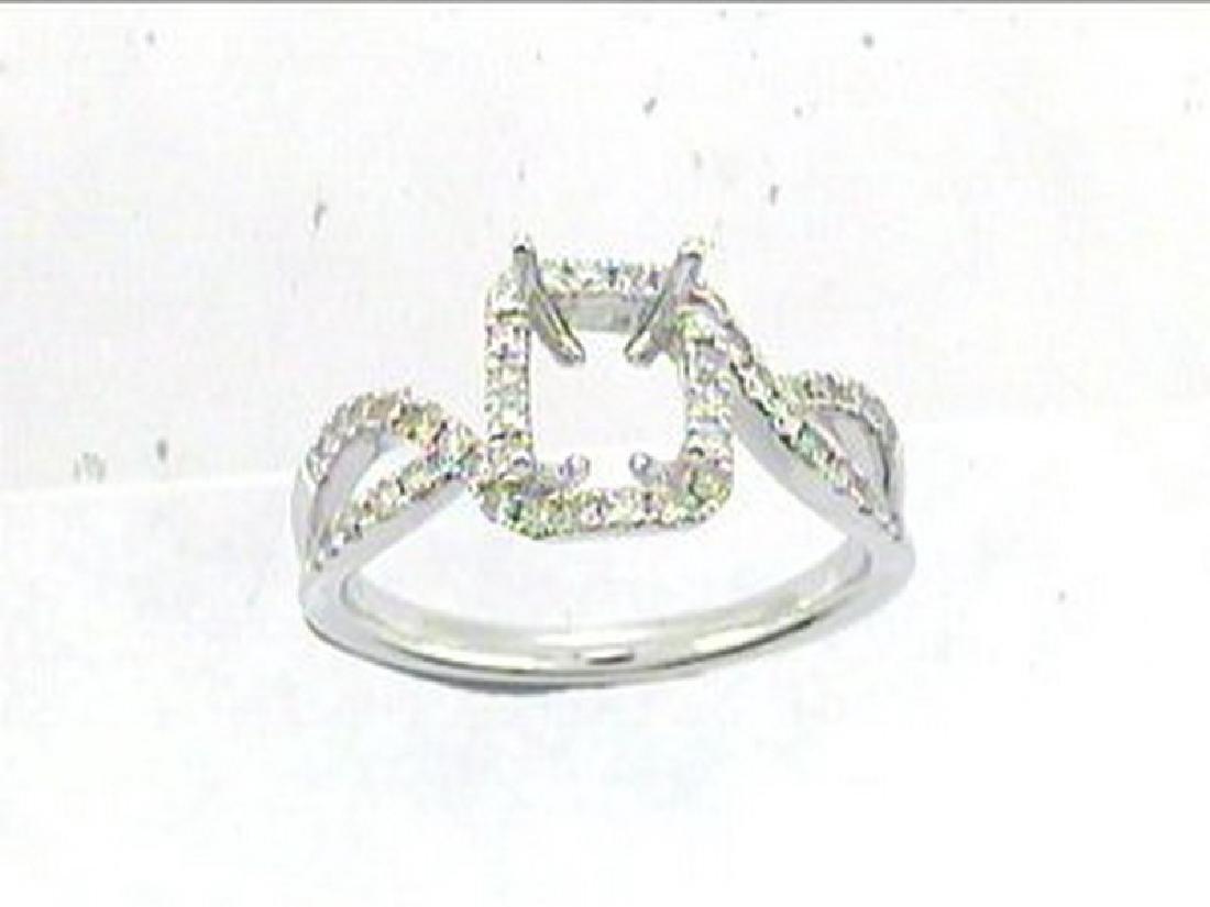 14K White Gold 0.45CTW Diamond Semi Mount Ring
