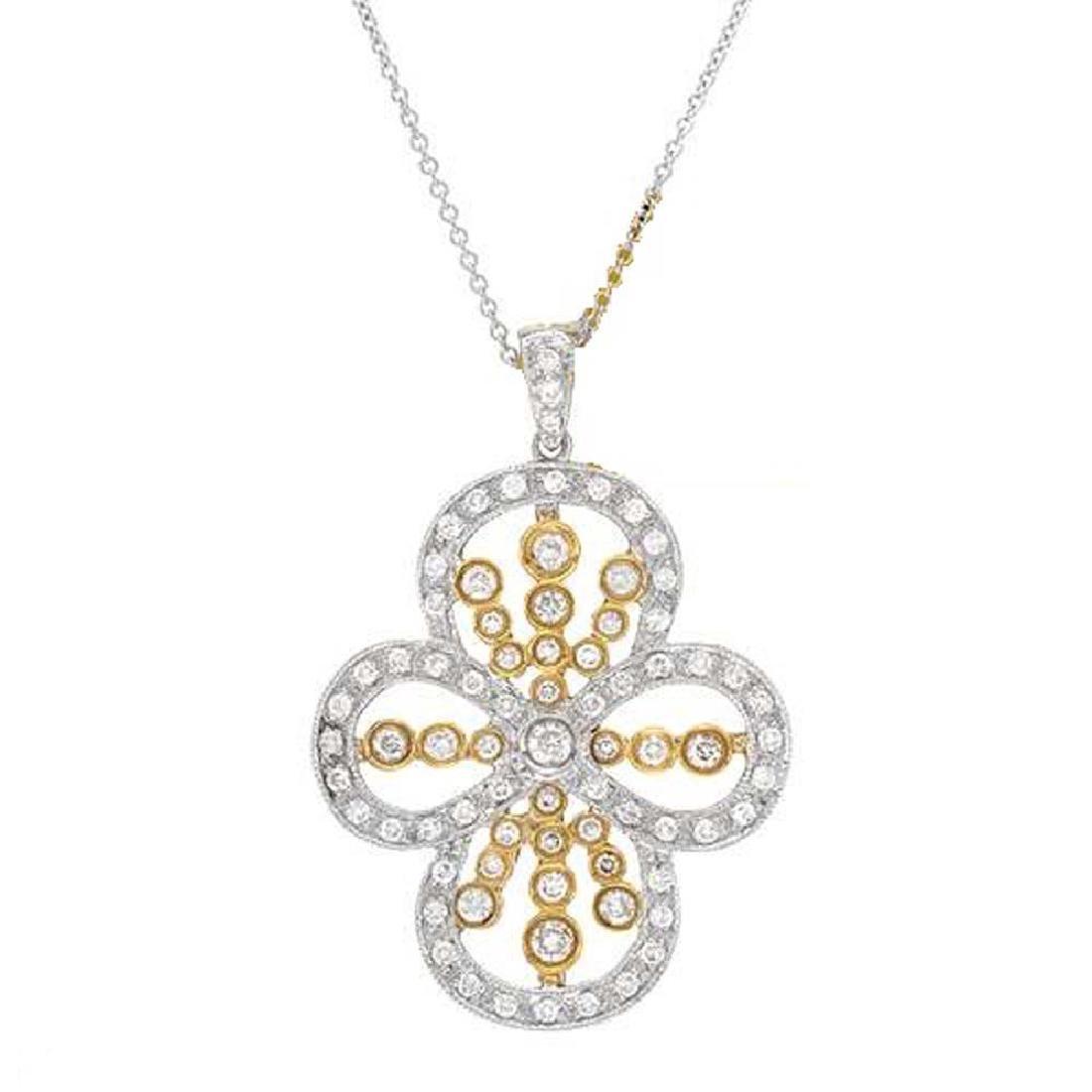 Genuine 1.15TCW 18K Two Tone Gold Ladies Necklace