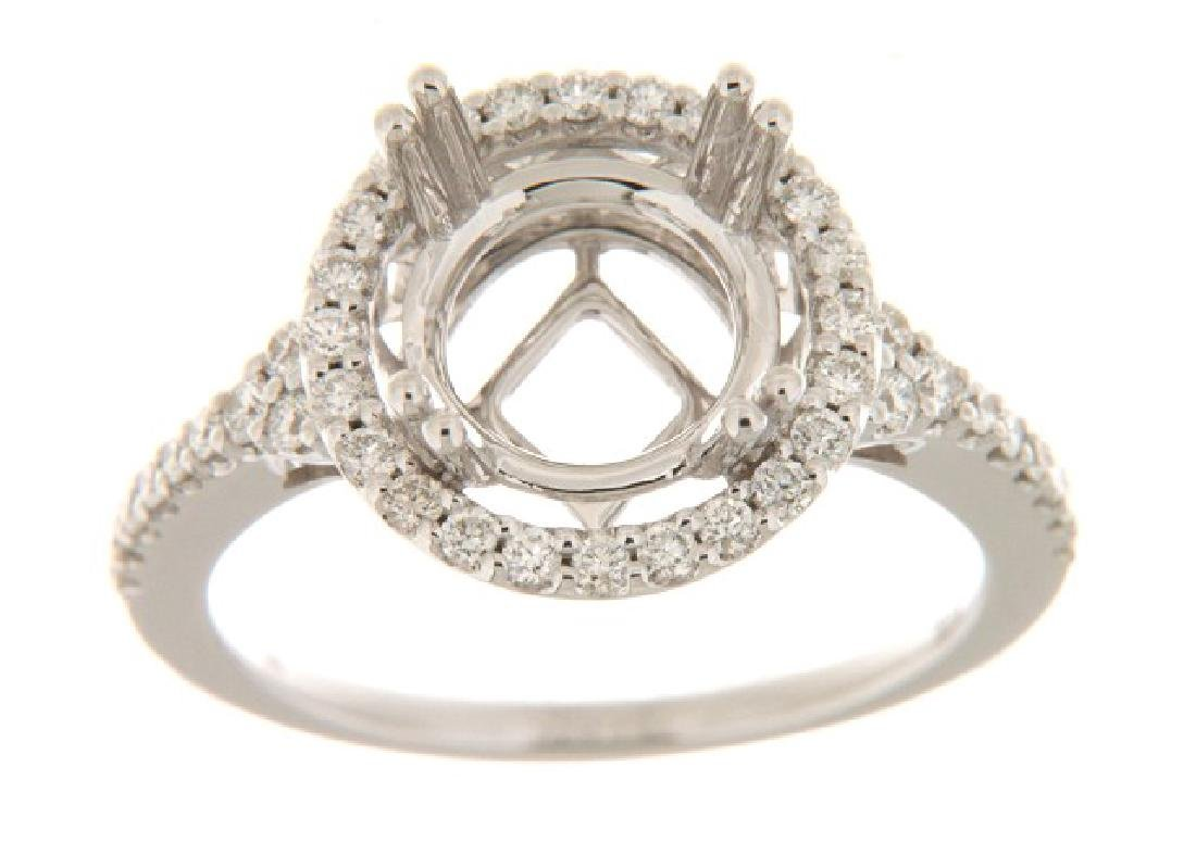 14K White Gold 0.49CTW Diamond Semi Mount Ring