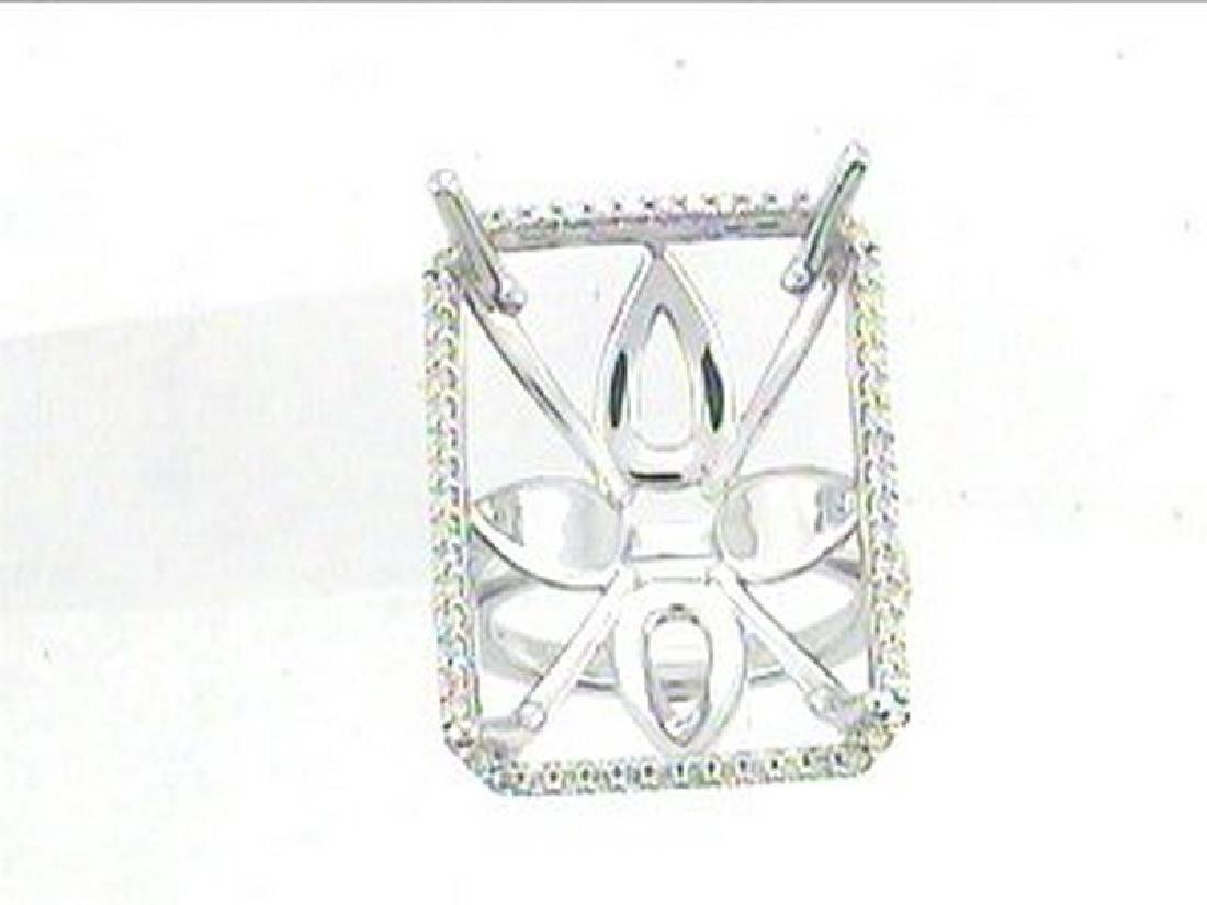 14K White Gold 0.66CTW Diamond Semi Mount Ring