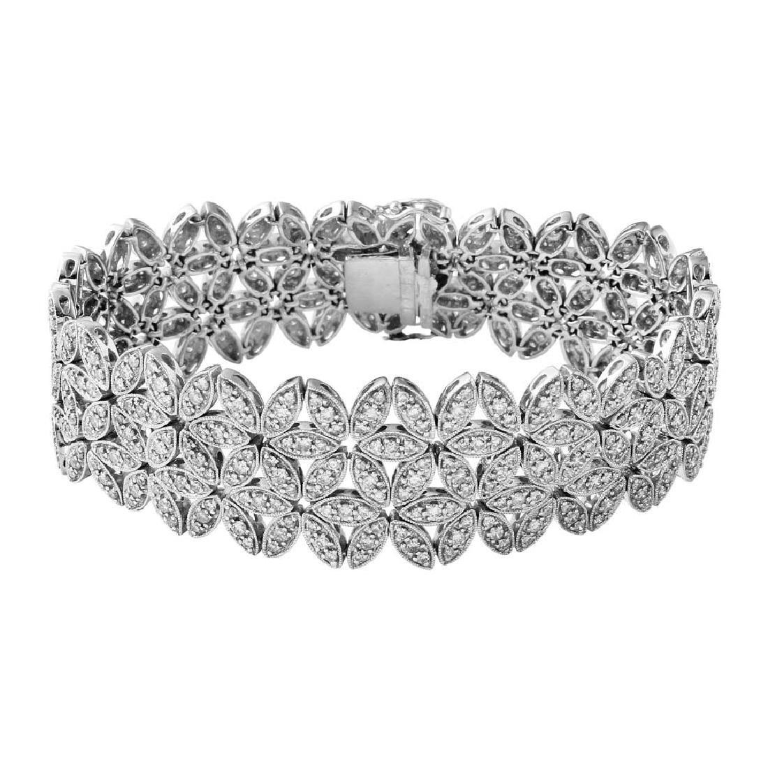 Genuine 6.23 TCW 14K White Gold Ladies Bracelet