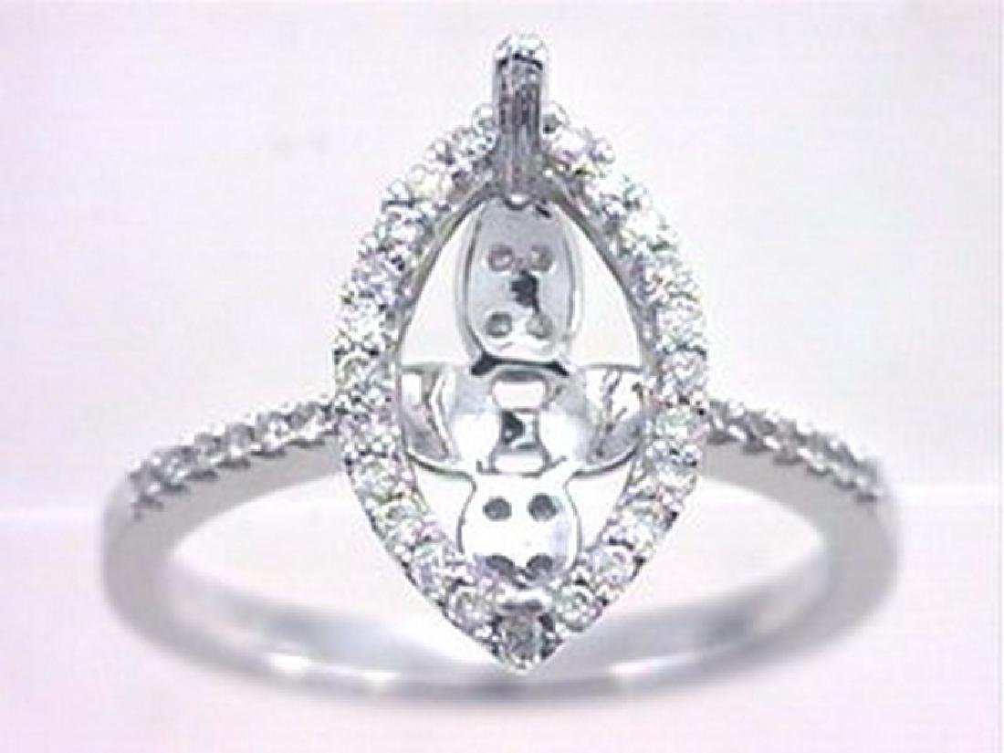 14K White Gold 0.34CTW Diamond Semi Mount Ring