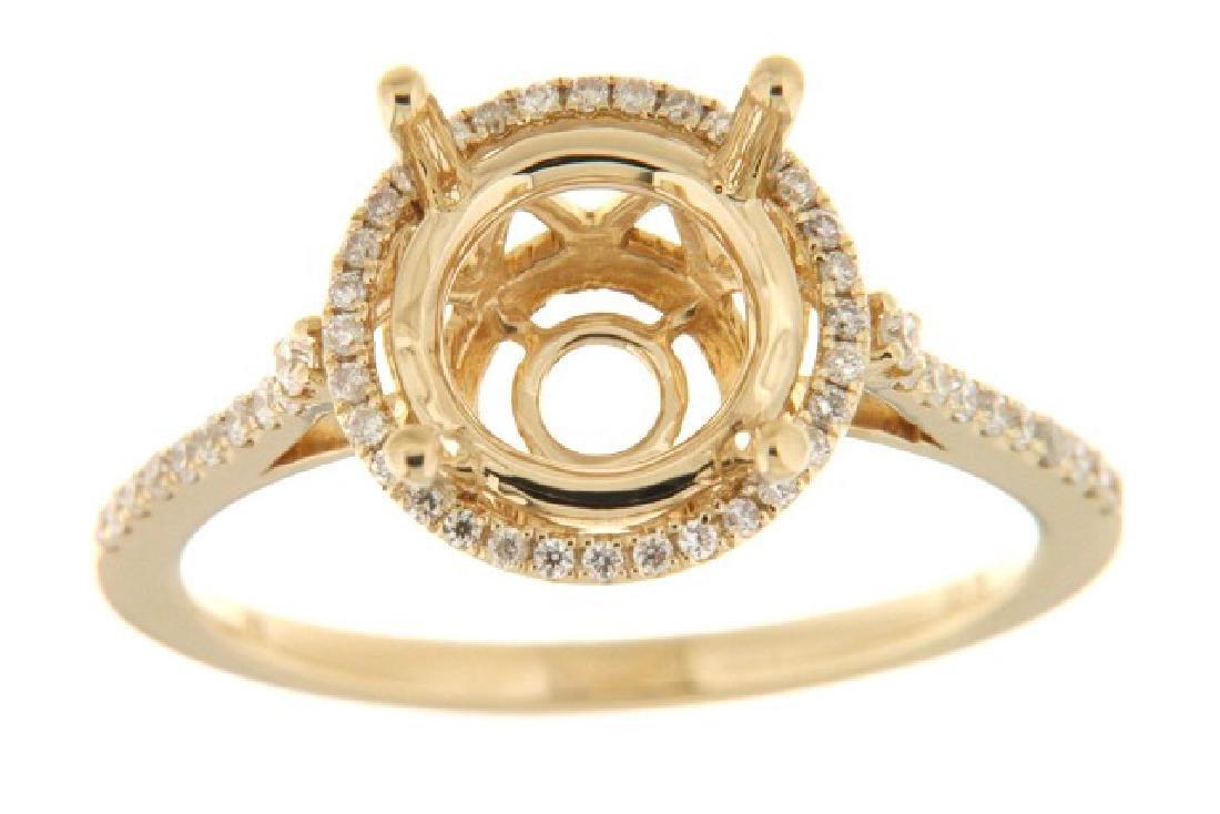 14K Yellow Gold 0.26CTW Diamond Semi Mount Ring