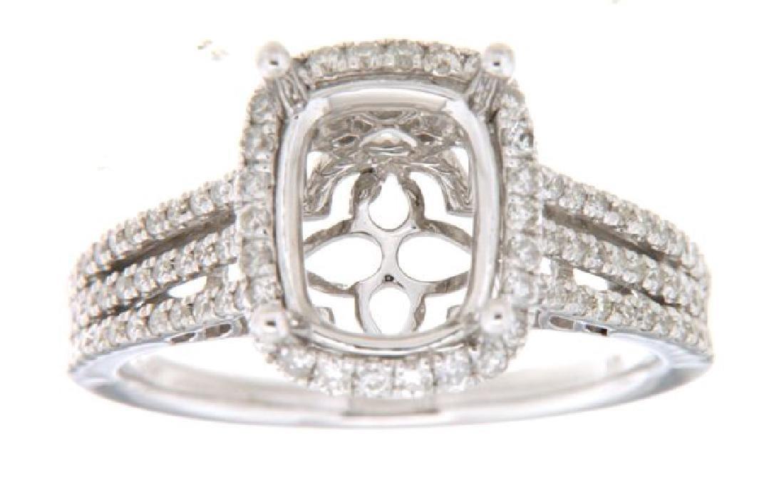 14K White Gold 0.52CTW Diamond Semi Mount Ring