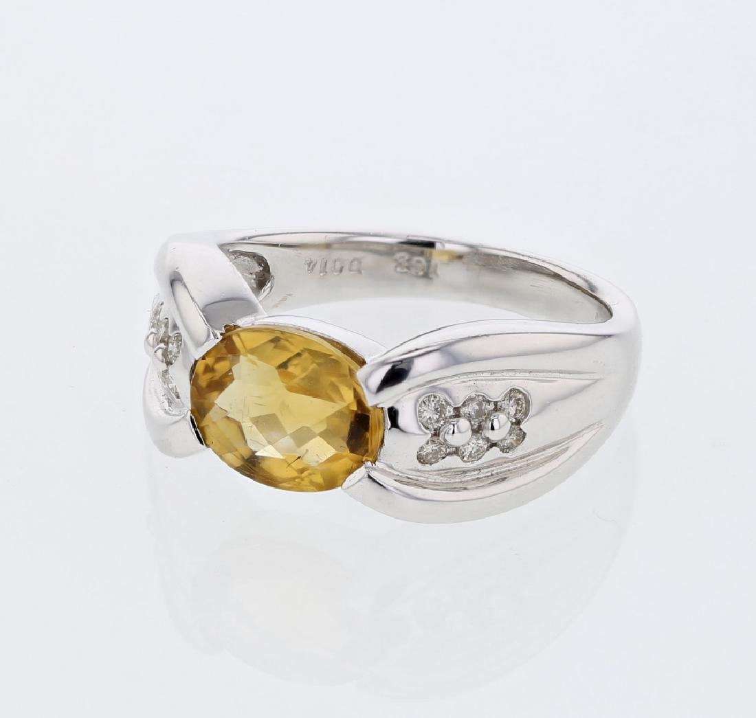 Oval Citrine Antique Diamond Cocktail Ring in 14K White