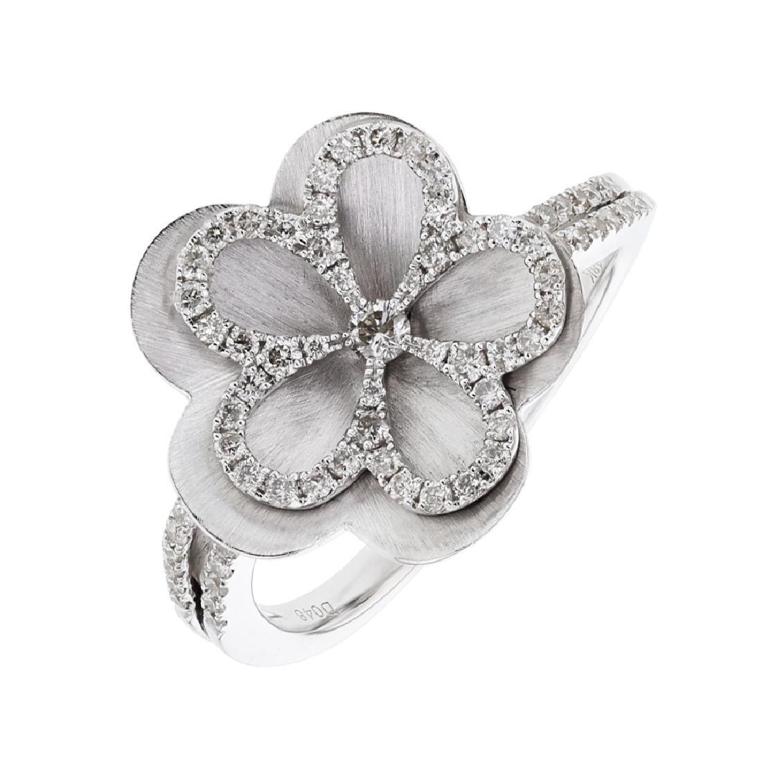 Flower Split Shank Diamond Ring in 18K White Gold