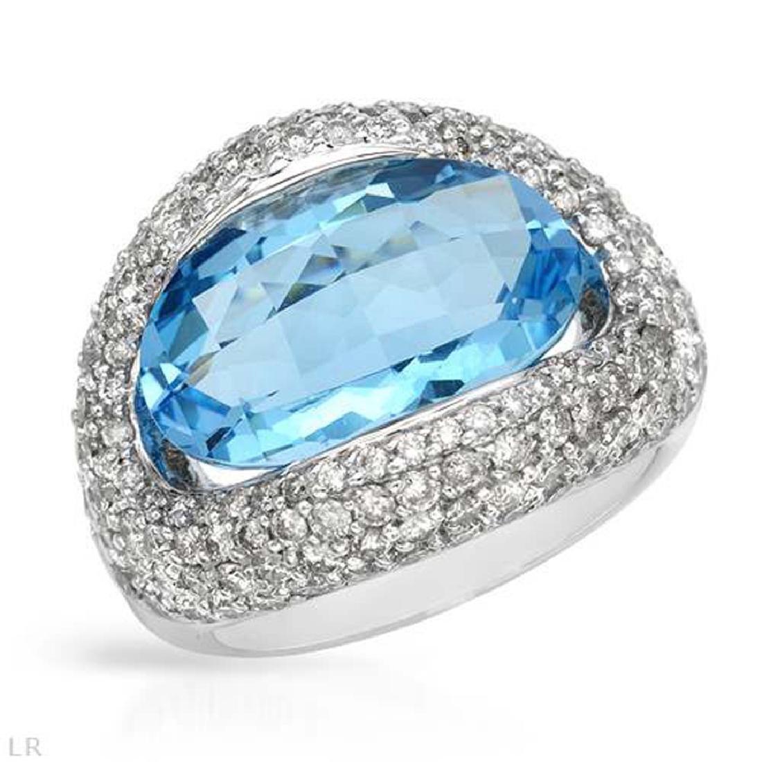 Genuine 12.96 TCW 14K White Gold Ladies Ring
