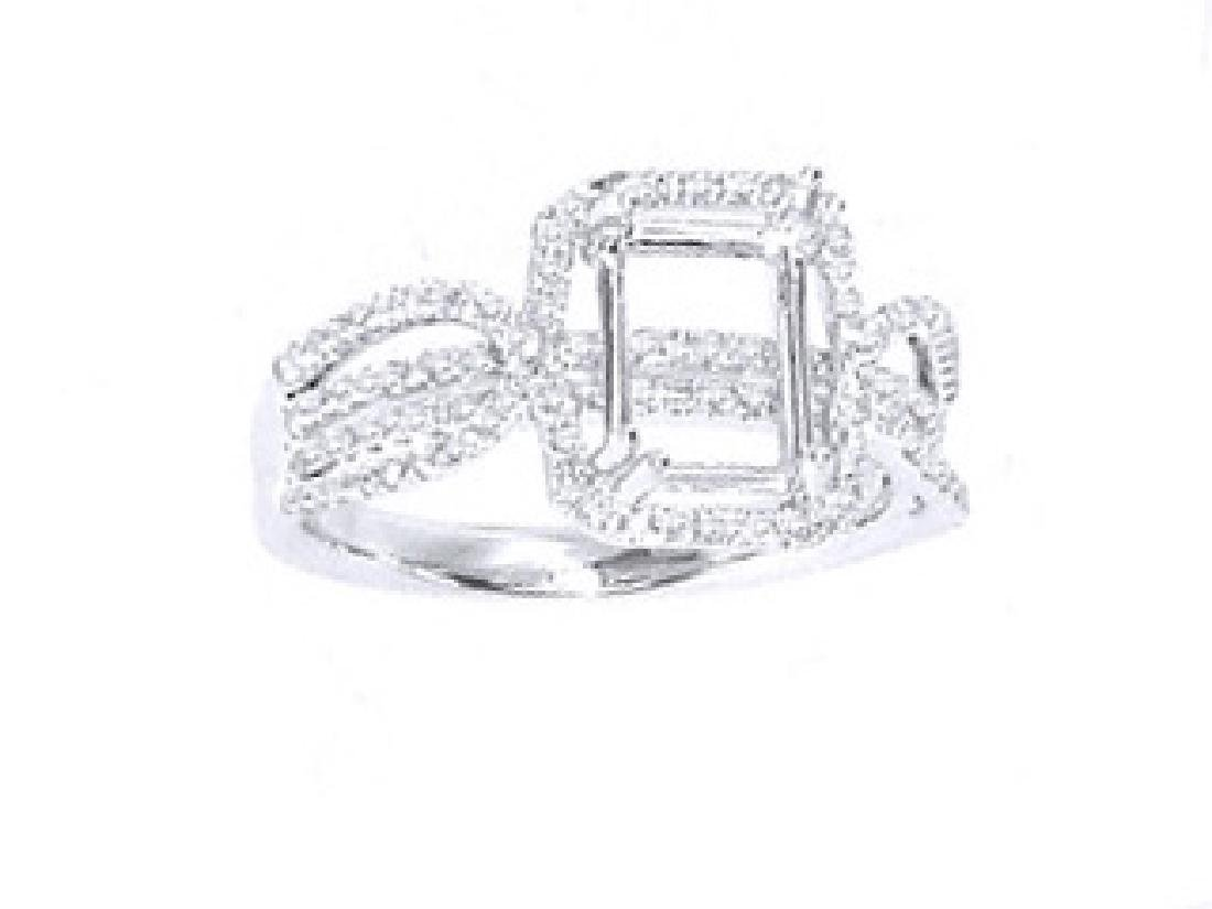 14K White Gold 0.53CTW Diamond Semi Mount Ring