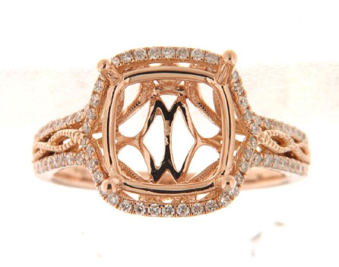 14K Rose Gold 0.45CTW Diamond Semi Mount Ring