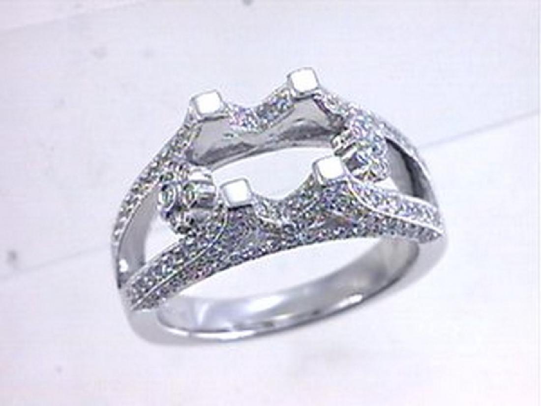 18K White Gold 0.81CTW Diamond Semi Mount Ring
