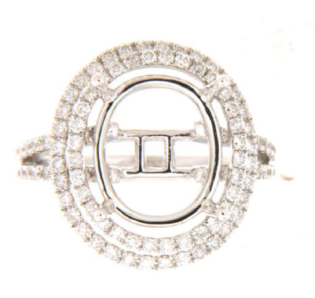14K White Gold 0.8CTW Diamond Semi Mount Ring
