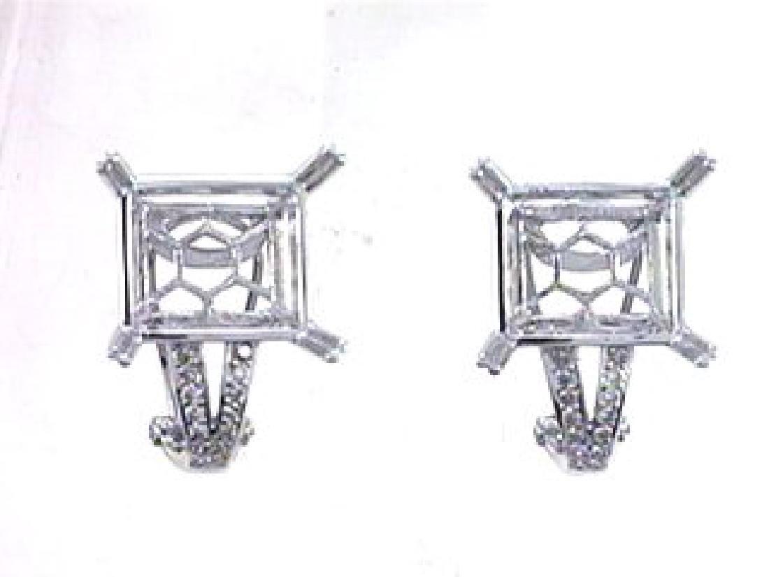 14K White Gold 0.4CTW Diamond Semi-Mount Earrings
