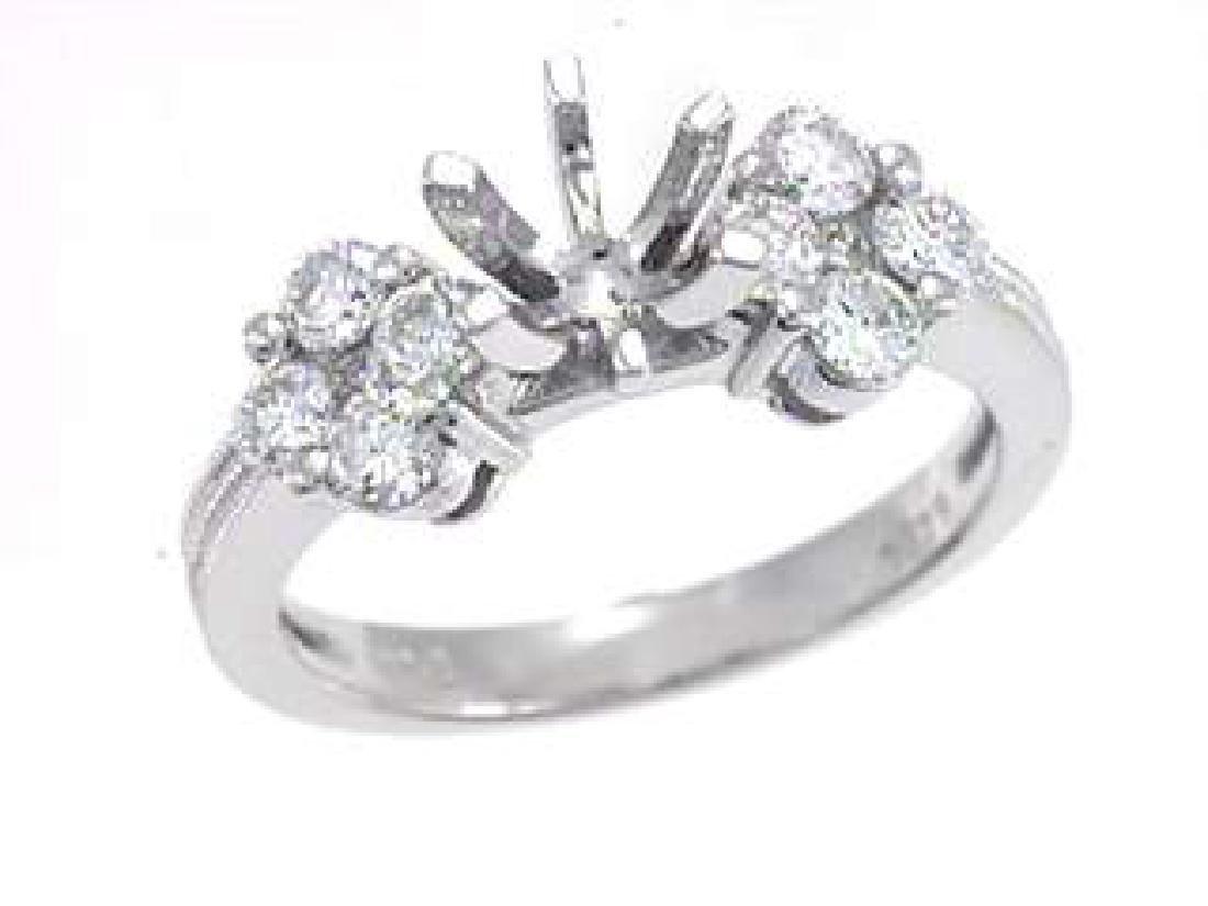 14K White Gold 0.82CTW Diamond Semi Mount Ring