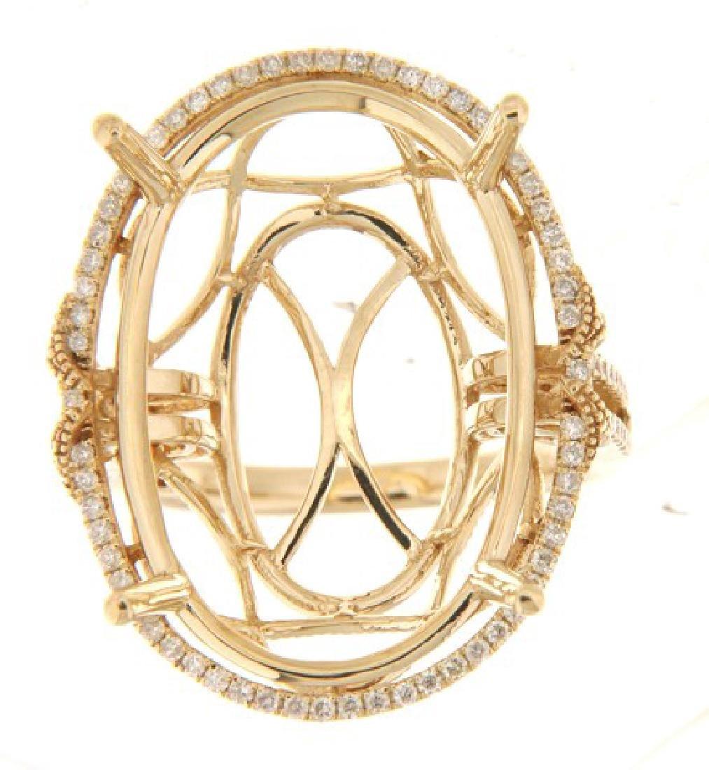 14K Yellow Gold 0.44CTW Diamond Semi Mount Ring