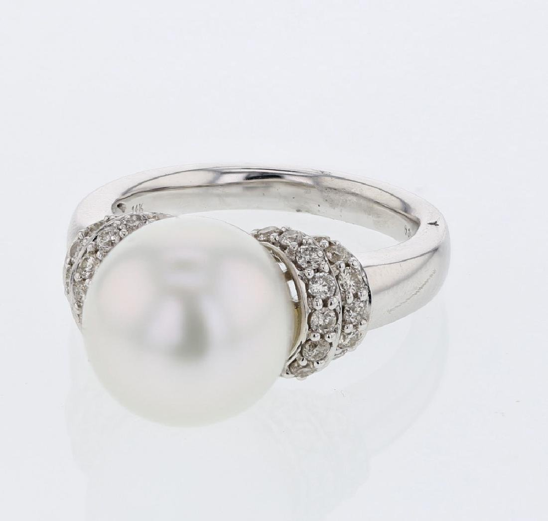 South Sea Pearl w/ Prong-set Diamond Ring in 14K White