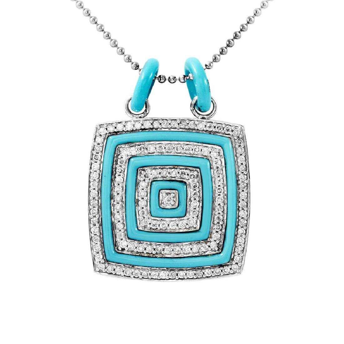 14K Gold 3.89 CTW Turquoise & Diamond Necklace