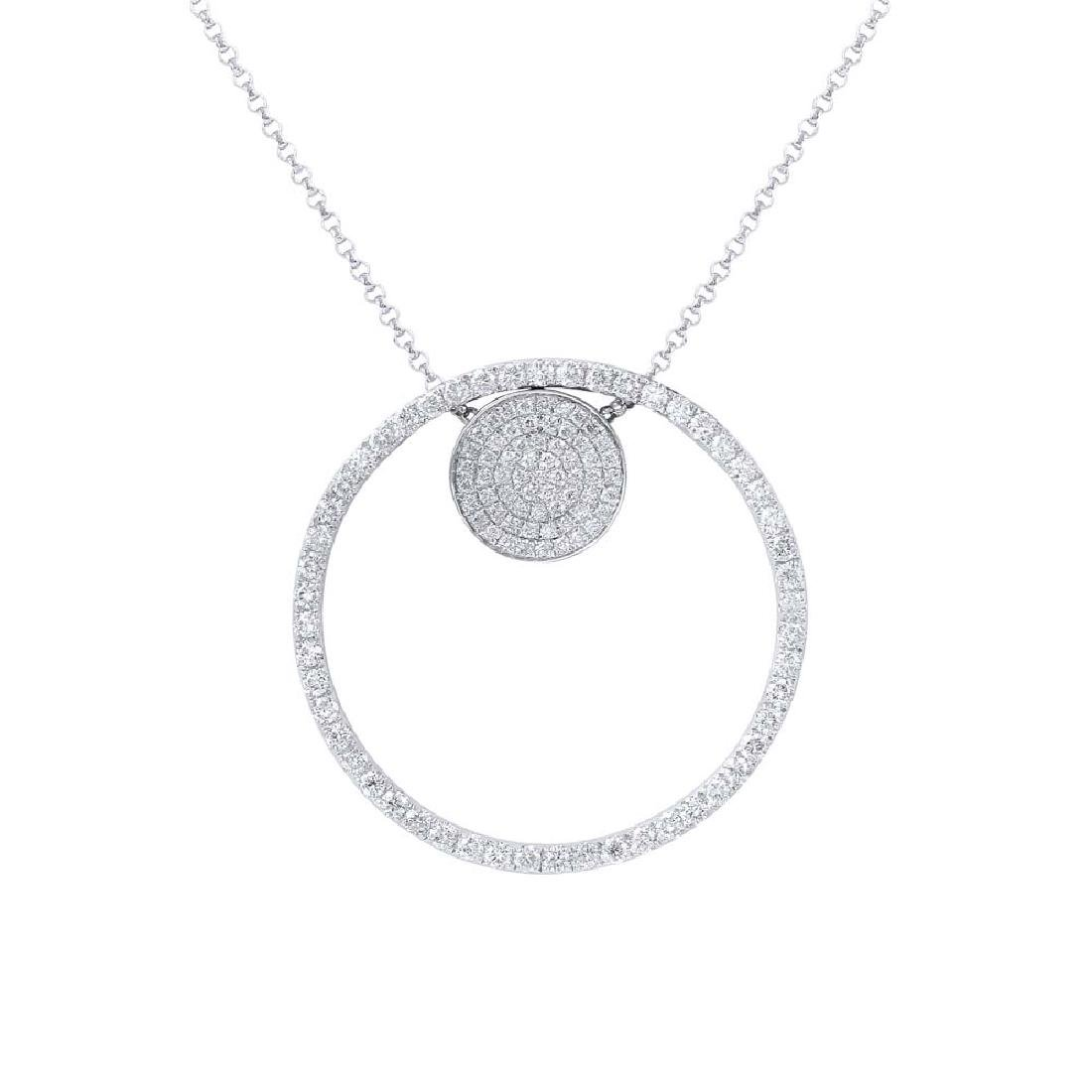 Genuine 1.08 TCW 18K White Gold Ladies Necklace