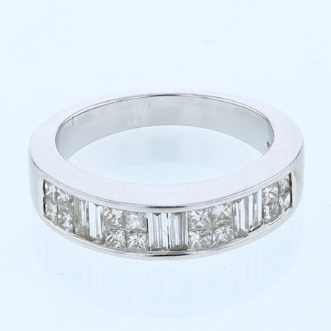 Princess and Baguette Invisible-Set Diamond Ring in 14K