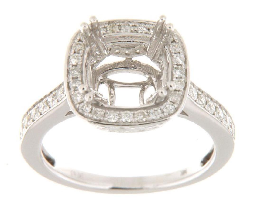 14K White Gold 0.64CTW Diamond Semi Mount Ring