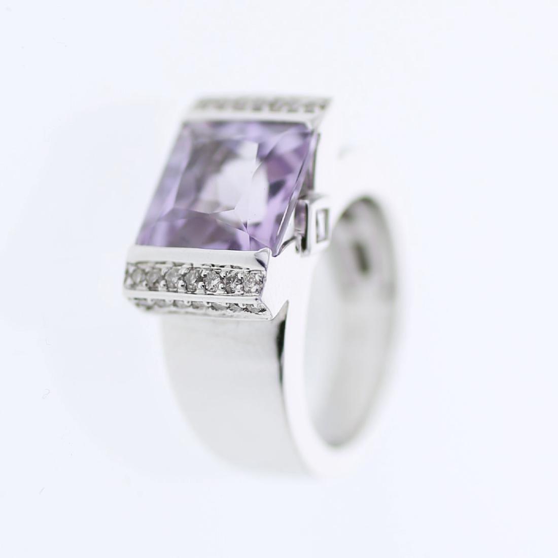 Purple Amethyst & Diamond Ring in 14K White Gold