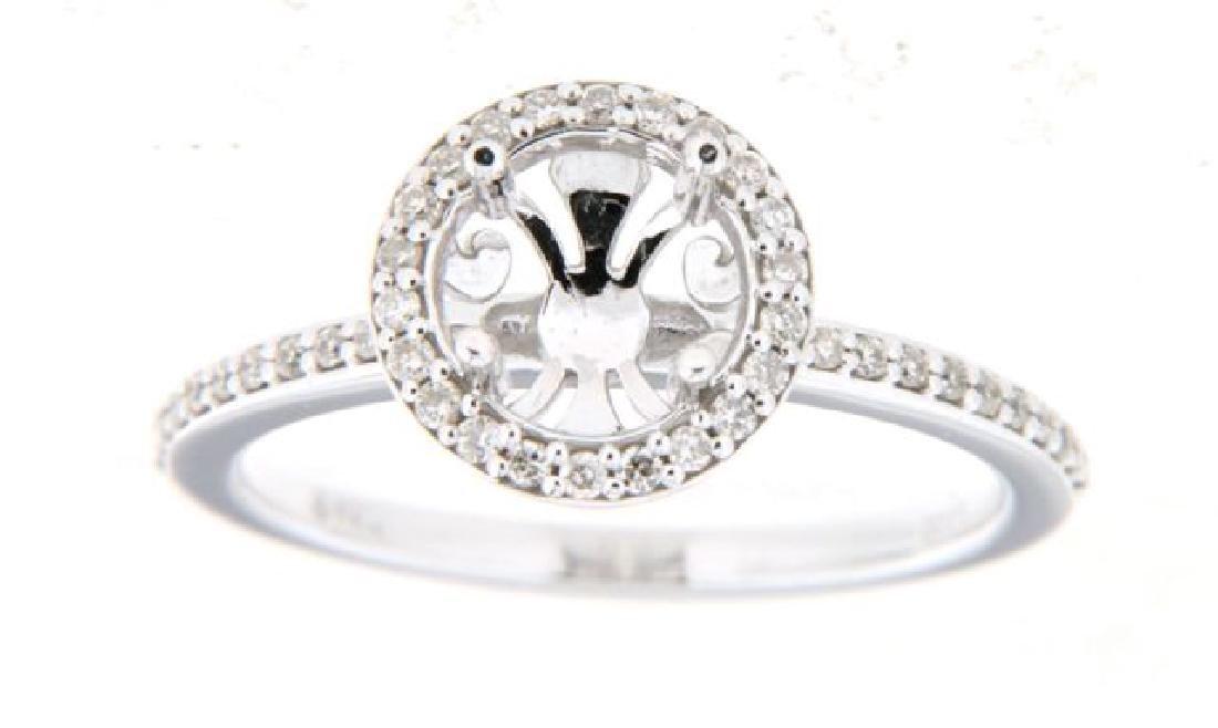 14K White Gold 0.25CTW Diamond Semi Mount Ring