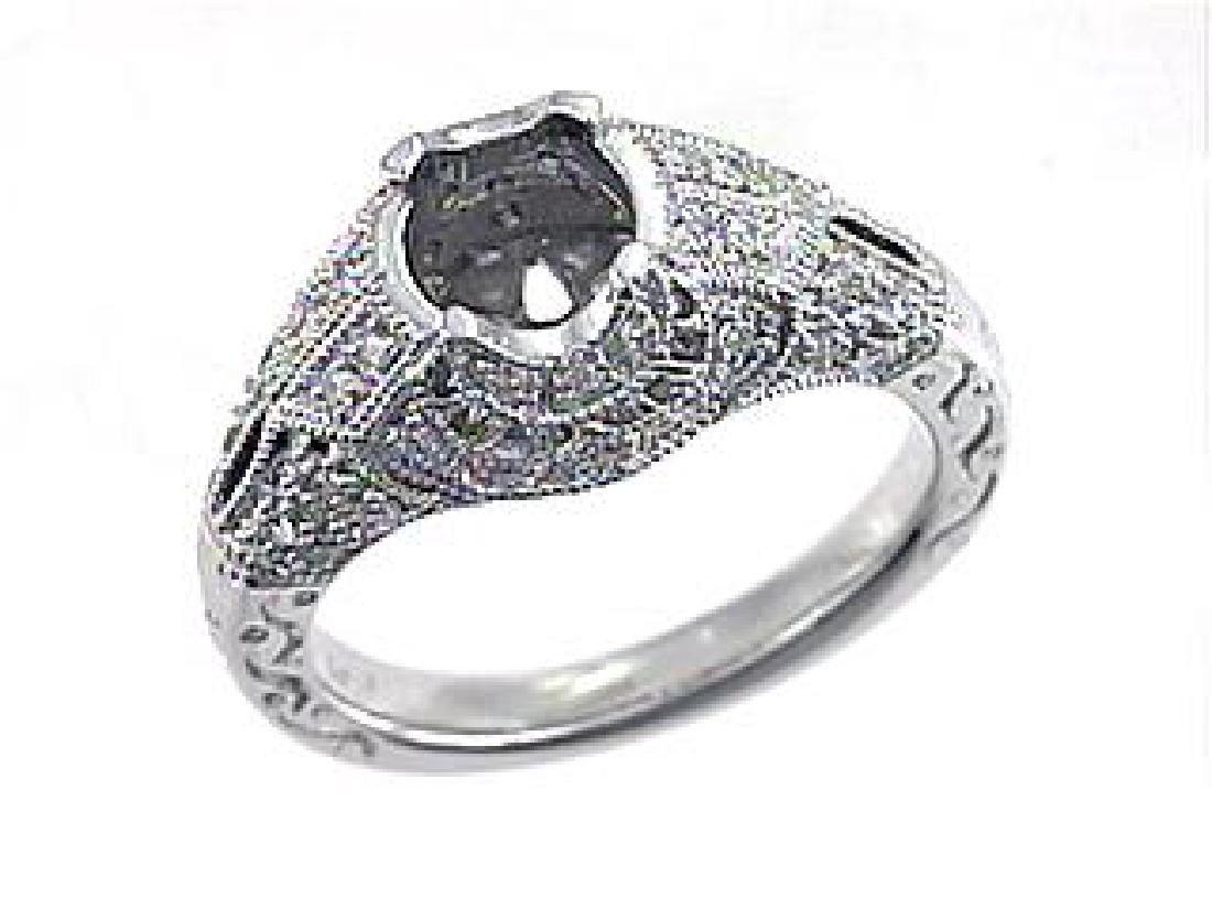 18K White Gold 0.36CTW Diamond Semi Mount Ring