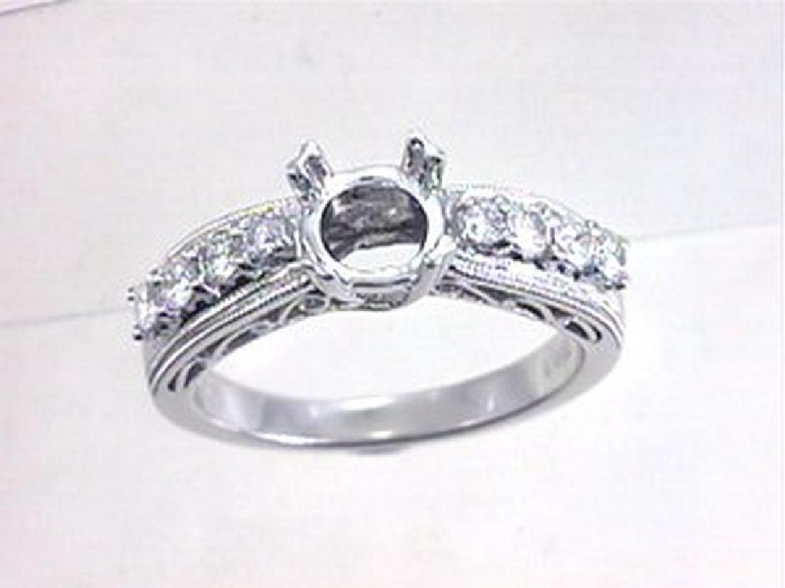 18K White Gold 0.4CTW Diamond Semi Mount Ring