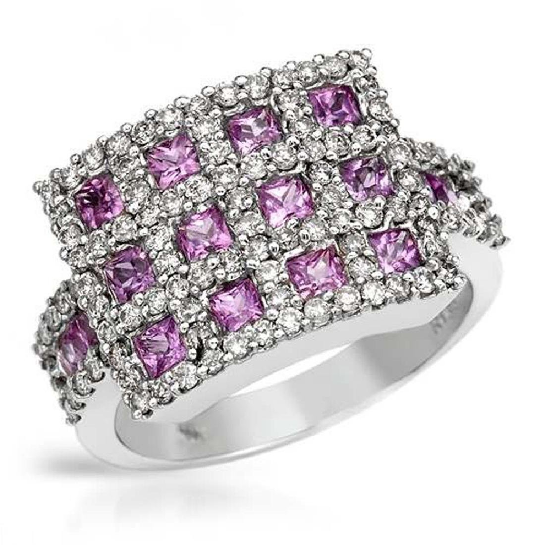 14KWhite Gold 2.4 CTW Sapphire & Diamond Ring