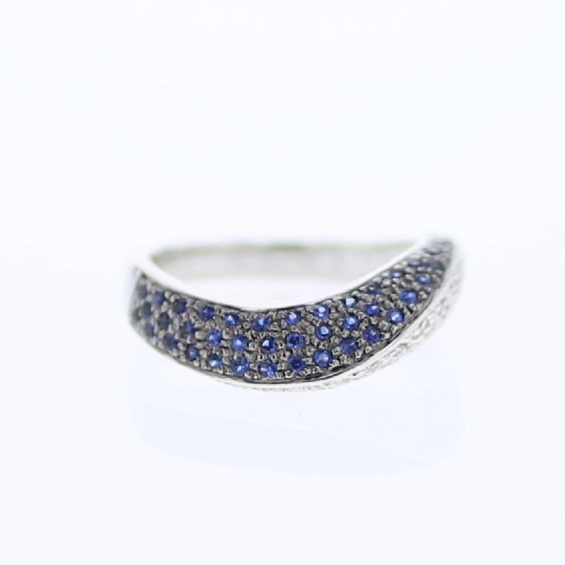 Curve Diamond Band w/ Pave-set Sapphires in 14K White