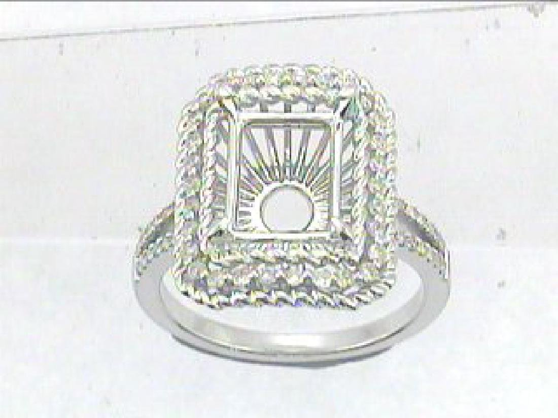 14K White Gold 0.42CTW Diamond Semi Mount Ring