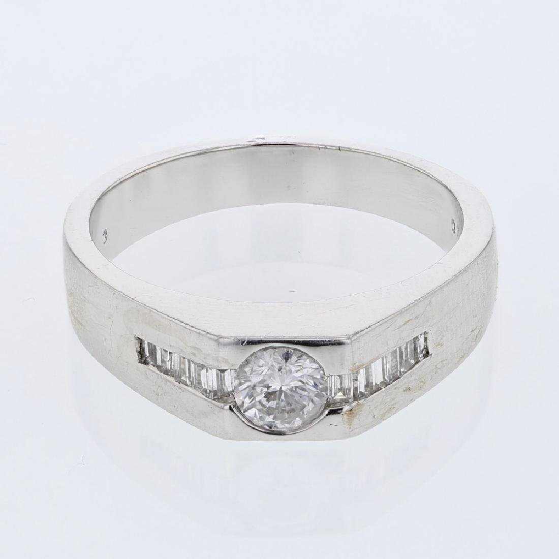 Mens Diamond Ring in 14K White Gold