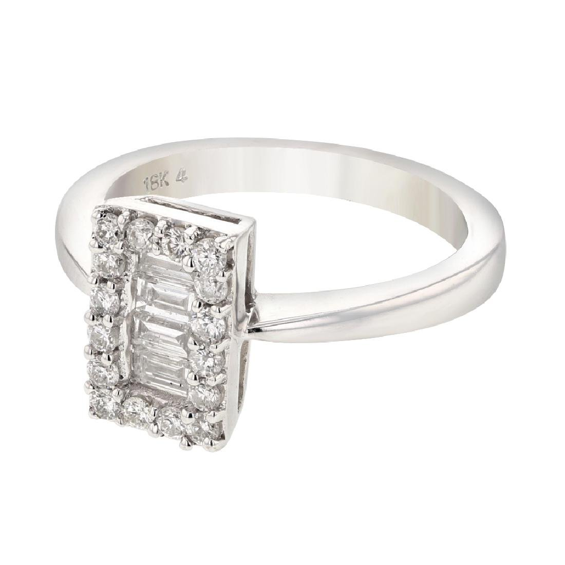 18K WhiteGold 0.6CTW Baguette Fashion Ring