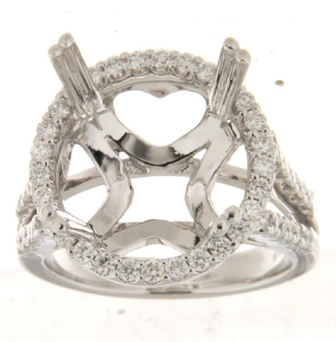 14K White Gold 0.78CTW Diamond Semi Mount Ring