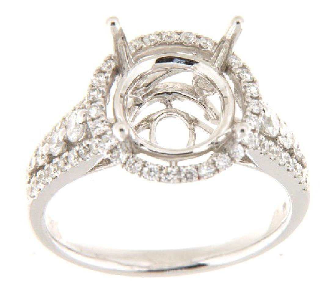 14K White Gold 0.83CTW Diamond Semi Mount Ring