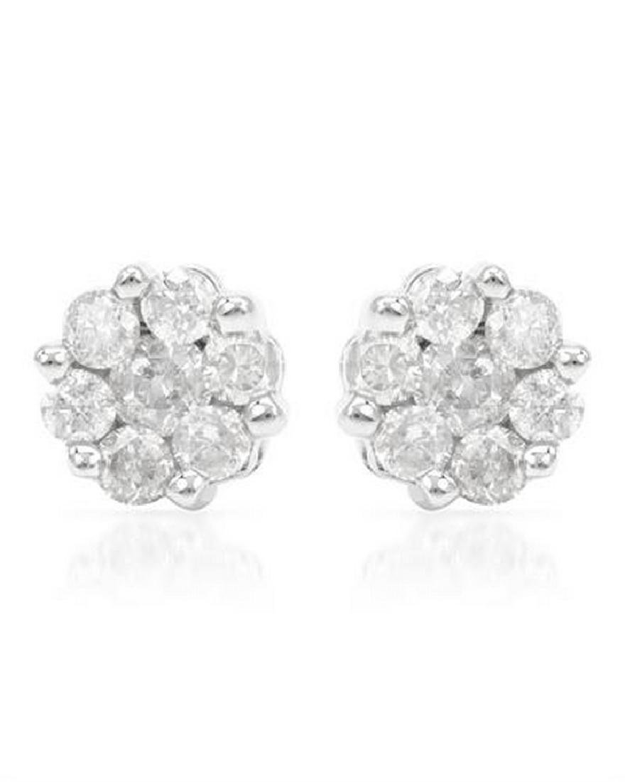 Genuine 0.25 TCW 14K White Gold Ladies Earring